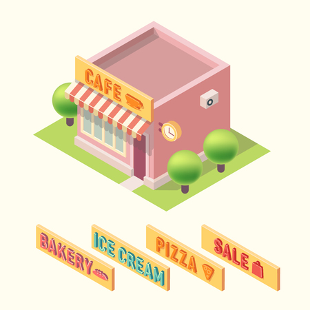 overhang: Flat 3d isometric cafe building icon with changing signatures bakery ice cream pizza sale. Illustration