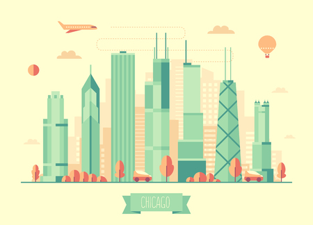 american cities: Chicago skyline architecture vector illustration with plane cars and air balloon flat design