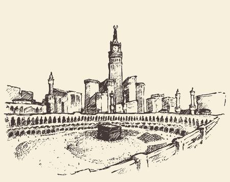 Heilige Kaaba in Mekka Saudi-Arabië met moslim mensen vintage gegraveerde illustratie hand getekende schets Stock Illustratie
