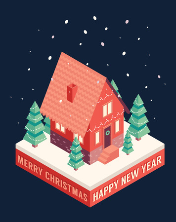 snow and trees: Isometric vector set of christmas icons Merry Christmas and happy new year greeting card design elements Illustration