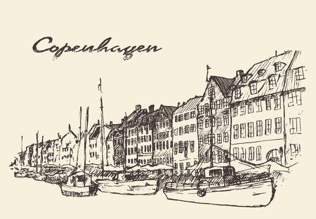 덴마크 코펜하겐의 빈티지 새겨진 그림 손의 거리가 그려진 일러스트