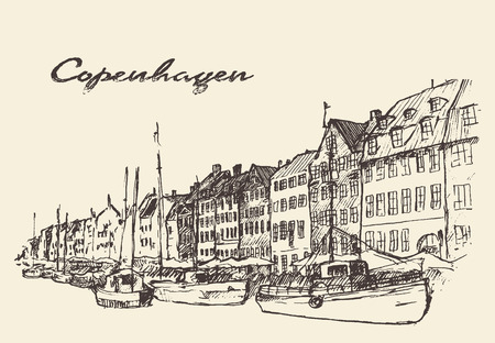 voyage vintage: Les rues de Copenhague Danemark illustration vintage gravé tiré par la main