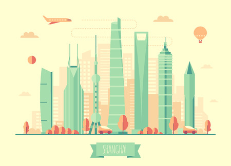 rise: Shanghai skyline architecture vector illustration with plane cars and air balloon flat design Illustration