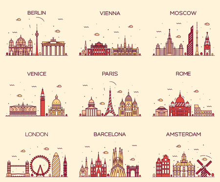 Europe skylines detailed silhouette Berlin Vienna Moscow Venice Paris Rome London Amsterdam Barcelona Trendy vector illustration line art style Vectores