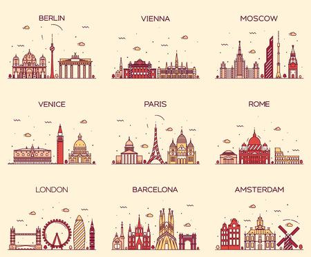 Europa Kontury szczegółowe sylwetka Berlin Wiedeń Moskwa Paryż Rzym Wenecja Londyn Amsterdam Barcelona Trendy Linia sztuki ilustracji wektorowych w stylu Ilustracje wektorowe