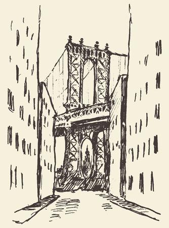 new york: Manhattan bridge New York United States vintage engraved illustration hand drawn sketch