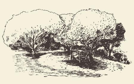lyric: Beautiful romantic illustration of tree with bench hand drawn sketch