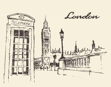 Streets in London England Bus Big Ben red telephone box illustration hand drawn Illustration