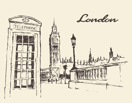 Streets in London England Bus Big Ben red telephone box illustration hand drawn Vettoriali