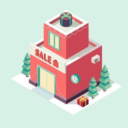 christmas night: Flat 3d isometric Christmas store icon vector illustration. Winter sale. Christmas sale. New year sale Illustration