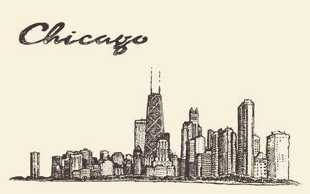 chicago: Chicago skyline big city architecture engraving vector illustration hand drawn Illustration