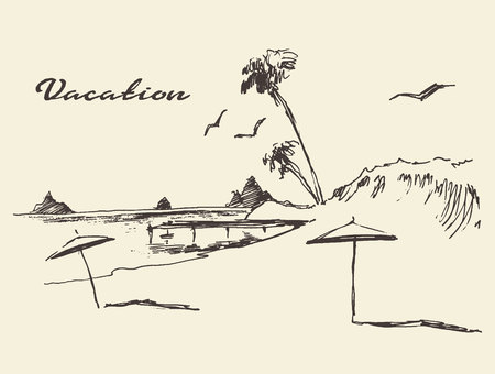 Beautiful hand drawn vacation poster with seaside view and beach vector illustration sketch Illustration