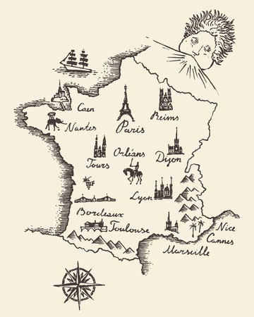 old style retro: Old school style map of France vintage retro design engraved vector illustration sketch
