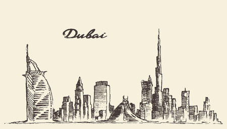Dubai City skyline detailed silhouette Hand drawn engraved vector illustration