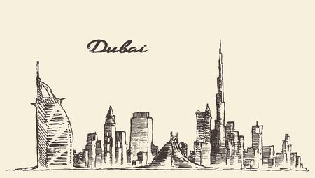 bocetos de personas: Dubai horizonte de la ciudad silueta detallada Dibujado a mano ilustraci�n vectorial grabado Vectores