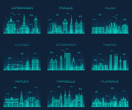 Europe skylines detailed silhouette Copenhagen Prague Milan Cannes Stockholm Madrid Naples Marseille Florence Trendy vector illustration line art style Фото со стока - 47743643