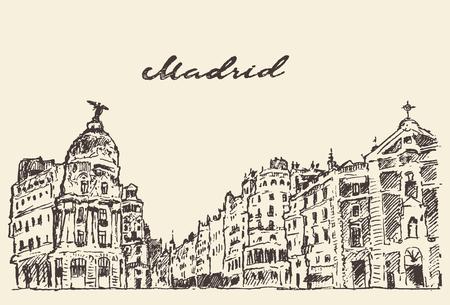 Streets in Madrid Spain vintage engraved illustration hand drawn