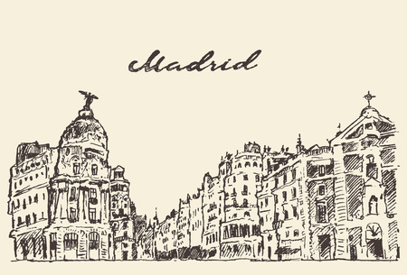 madrid spain: Streets in Madrid Spain vintage engraved illustration hand drawn