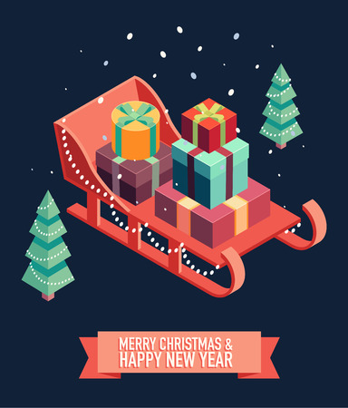 Isometric vector image of open sleigh with bunch of gifts. Merry Christmas and happy new year greeting card illustration