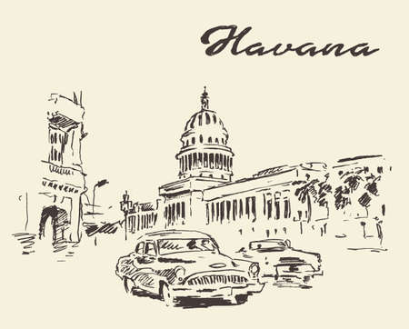 Streets of Havana with old cars vintage engraved illustration hand drawn sketch Illustration