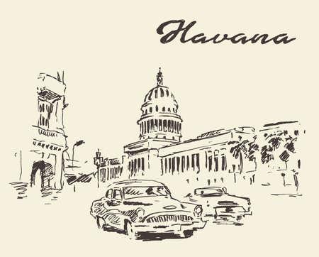 zeichnen: Straßen von Havanna mit alten Autos Jahrgang gravierte Darstellung Hand gezeichnete Skizze