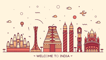 Skyline of India detailed silhouette Trendy vector illustration linear style Illustration