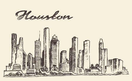 Houston skyline big city architecture engraving vector illustration hand drawn
