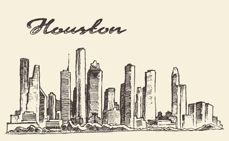 Houston skyline big city architecture engraving vector illustration hand drawn
