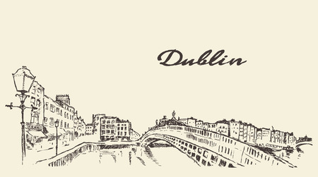 irish cities: Dublin skyline vintage engraved illustration hand drawn sketch