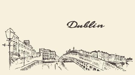 Dublin skyline vintage engraved illustration hand drawn sketch