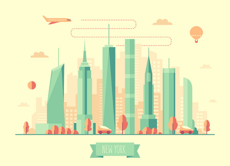 new york city skyline: New York city skyline architecture vector illustration with plane cars and air balloon flat design Illustration