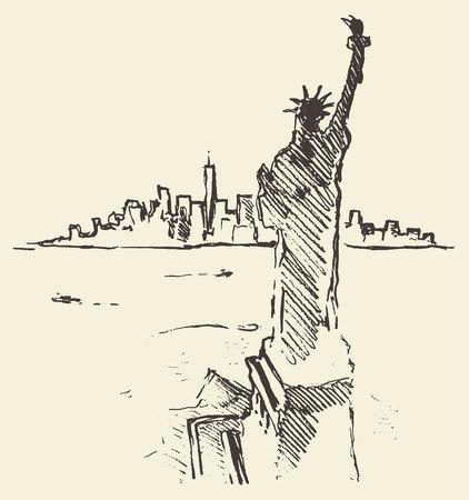 dibujos lineales: Bosquejo de la silueta de la ciudad de Nueva York con la estatua de la libertad en vector vendimia delante grabado dibujado a mano ilustración