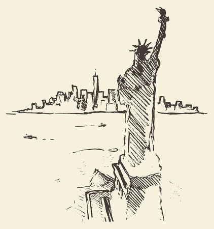 skyline city: Sketch of New York city skyline with Statue of Liberty on front vector vintage engraved illustration hand drawn