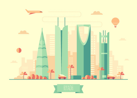 view from the plane: Riyadh skyline architecture vector illustration with plane cars and air balloon flat design