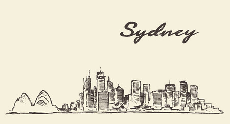 sydney skyline: Sydney skyline vintage engraved illustration hand drawn sketch