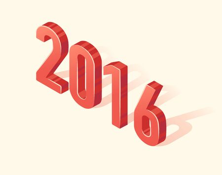 3d design element: Beautiful realistic Happy New 2016 Year icon 3d design element Isometric vector illustration