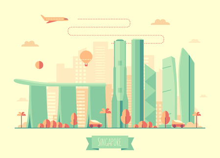 singapore skyline: Singapore skyline architecture vector illustration with plane cars and air balloon flat design