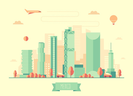 Mexico skyline architecture vector illustration with plane cars and air balloon flat design