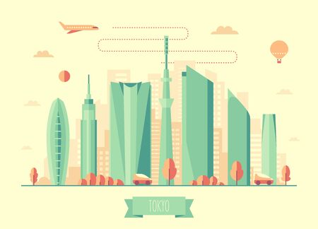 city landscape: Tokyo skyline architecture vector illustration with plane cars and air balloon flat design