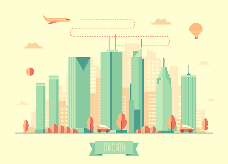 american cities: Toronto skyline architecture vector illustration with plane cars and air balloon flat design Illustration