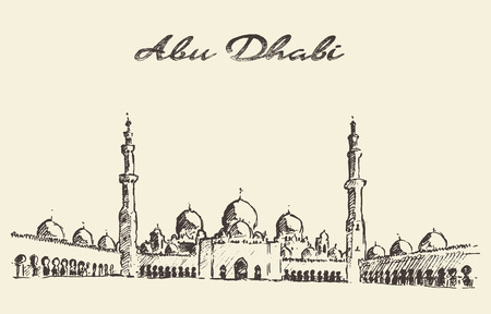 arab: Abu Dhabi main mosque Sheikh Zayed Mosque vintage engraved illustration hand drawn