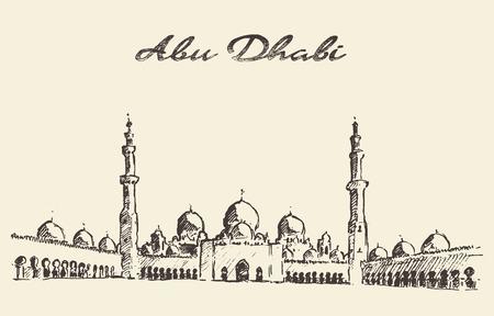 Abu Dhabi main mosque Sheikh Zayed Mosque vintage engraved illustration hand drawn