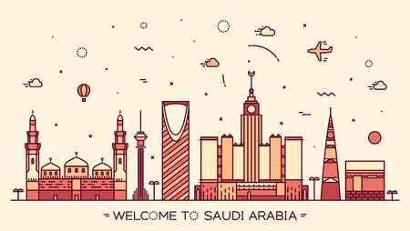 Skyline of Saudi Arabia detailed silhouette. Trendy vector illustration linear style
