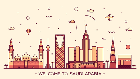 Skyline of Saudi Arabia detailed silhouette. Trendy vector illustration linear style