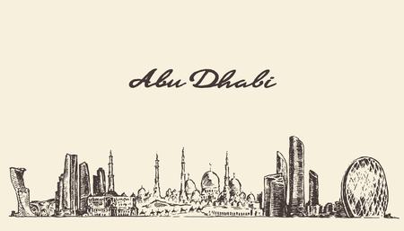 Abu Dhabi skyline vintage engraved illustration hand drawn