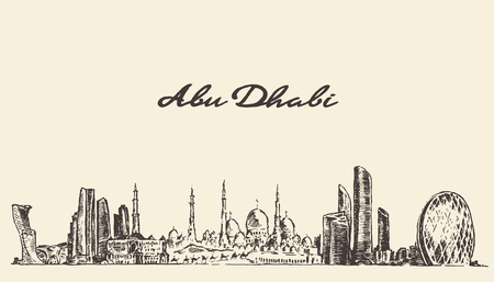 Abu Dhabi skyline vintage engraved illustration hand drawn