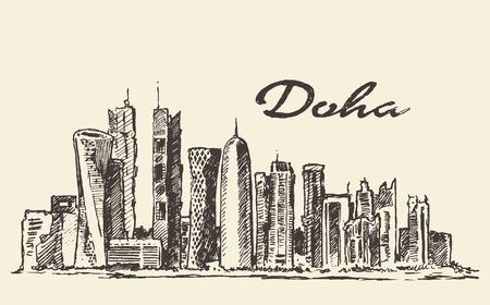 boceto: Dibujado ilustración grabada Doha horizonte de vector mano