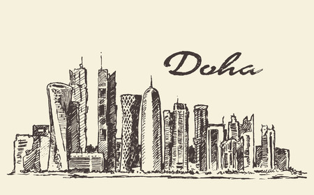 skyline city: Doha skyline vector engraved illustration hand drawn
