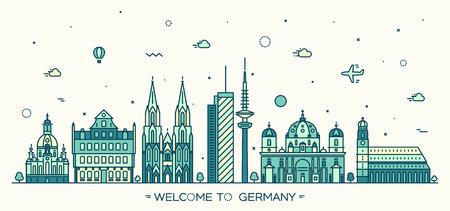 German skyline detailed silhouette Berlin Dresden Frankfurt Cologne Hamburg Munich Trendy vector illustration linear style