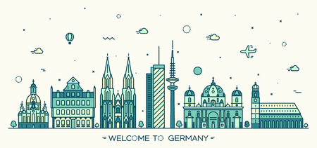 frankfurt: German skyline detailed silhouette Berlin Dresden Frankfurt Cologne Hamburg Munich Trendy vector illustration linear style